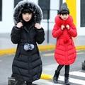 Chaqueta de invierno para las muchachas espesan abrigos largos grandes de ropa para niños 2017 chica's chaqueta Outwear 6-11 años