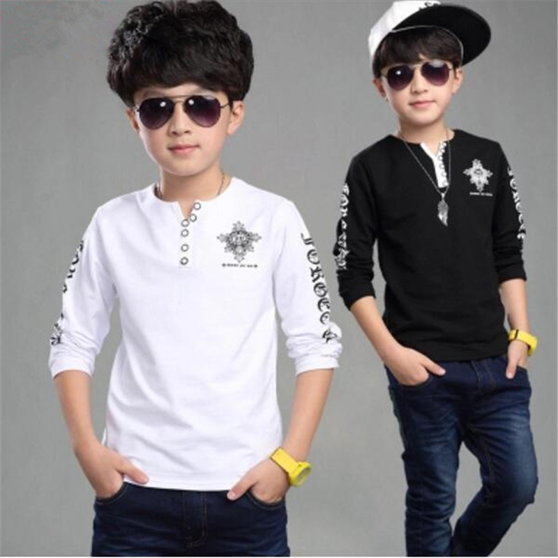 Clothing medium-large male child 2018 spring and autumn black and white long-sleeve basic V-neck T-shirt long-sleeve shirt faux twinset button design v neck long sleeve fitted stylish polyester t shirt for men
