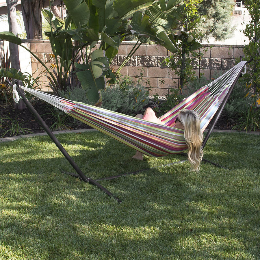 YONTREE 1 PC Stainless Steel Outdoor Recliner Stripe Garden Hammock Swing  With Stent Stock In US