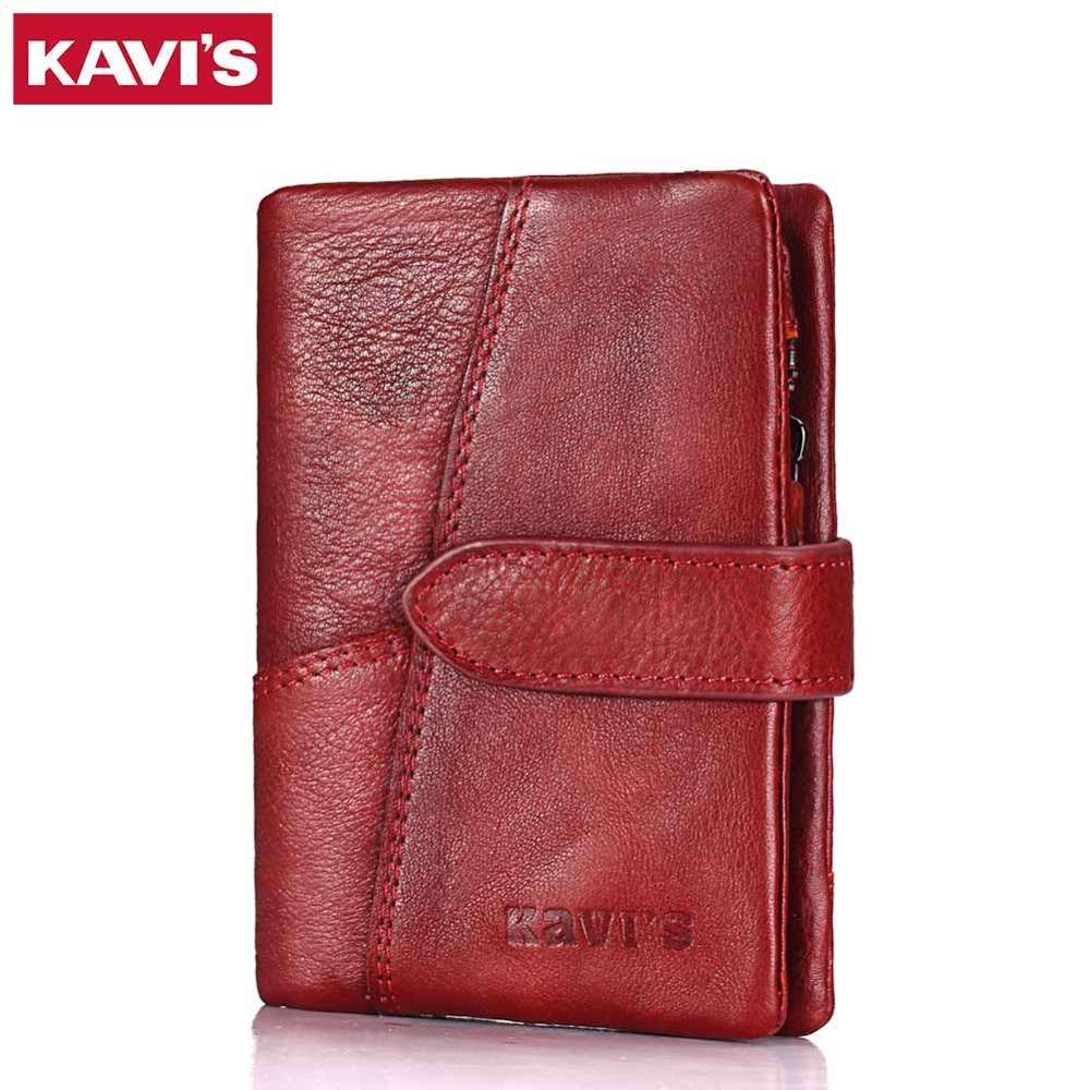 KAVIS Luxury Brand Wallet Female Coin Purse Genuine Leather Women Portomonee And Walet Rfid Pocket Perse For Lady Mini Smalle