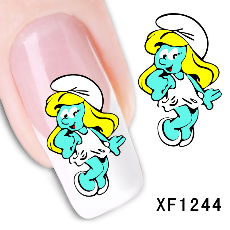 cartoon figure design Water Transfer Nails Art Sticker decals girl women manicure tools Nail Wraps Decals wholesale XF1244 ds300 2016 new water transfer stickers for nails beauty harajuku blue totem decoration nail wraps sticker fingernails decals