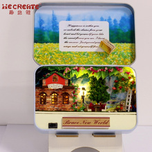 DIY Kit Dollhouse Toy Miniatyr Scale Model Puslespill Wooden Doll House Unikt Box Cute House Toy Med Furnitures for New Year Gift