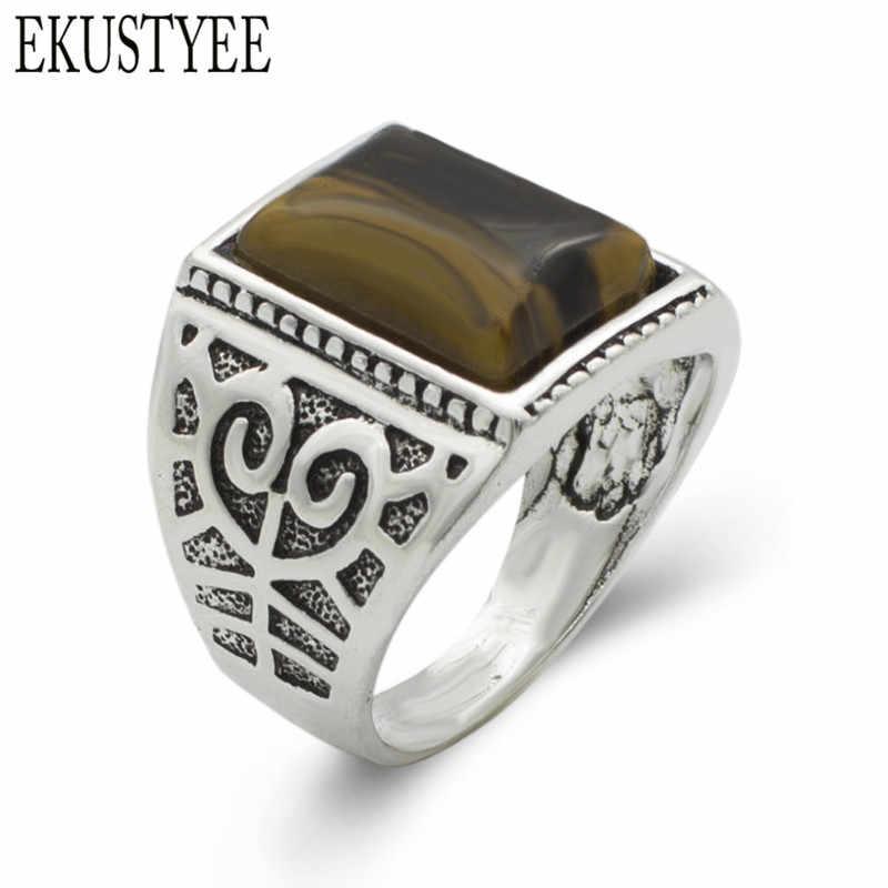 เสน่ห์โบราณเงินแหวนเลียนแบบธรรมชาติเสือตาหินแหวนนิ้วอุปกรณ์เครื่องประดับสำหรับผู้ชาย