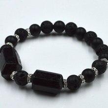 YA1845 черный турмалиновый массивный Лава эластичный веревочный браслет