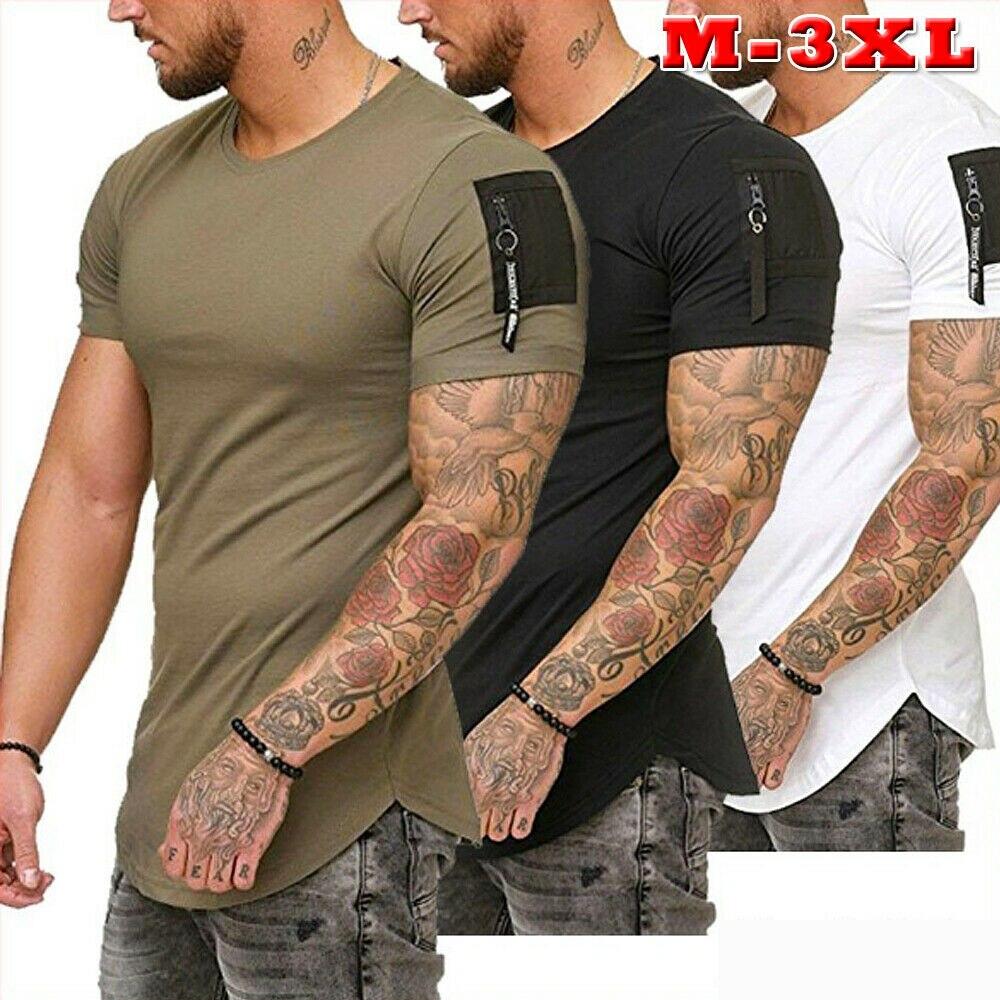 Мужская футболка с коротким рукавом, облегающая футболка с круглым вырезом, на молнии, модная повседневная футболка, лидер продаж, M 3XL|Футболки|   | АлиЭкспресс