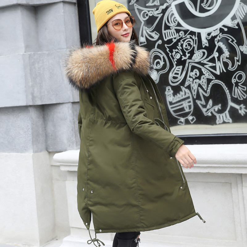 90% Duck   Down     Coat   Female Winter 2018 100% Natural Raccoon Fur Collar Hooded Parkas For Winter Jacket Women Long Thick Parka