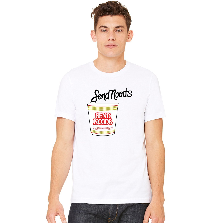 Funny Send Noods Noodle Spoof Pick Up Line T-Shirt Tee Print T Shirt Men Brand Clothing Short-Sleeved Print