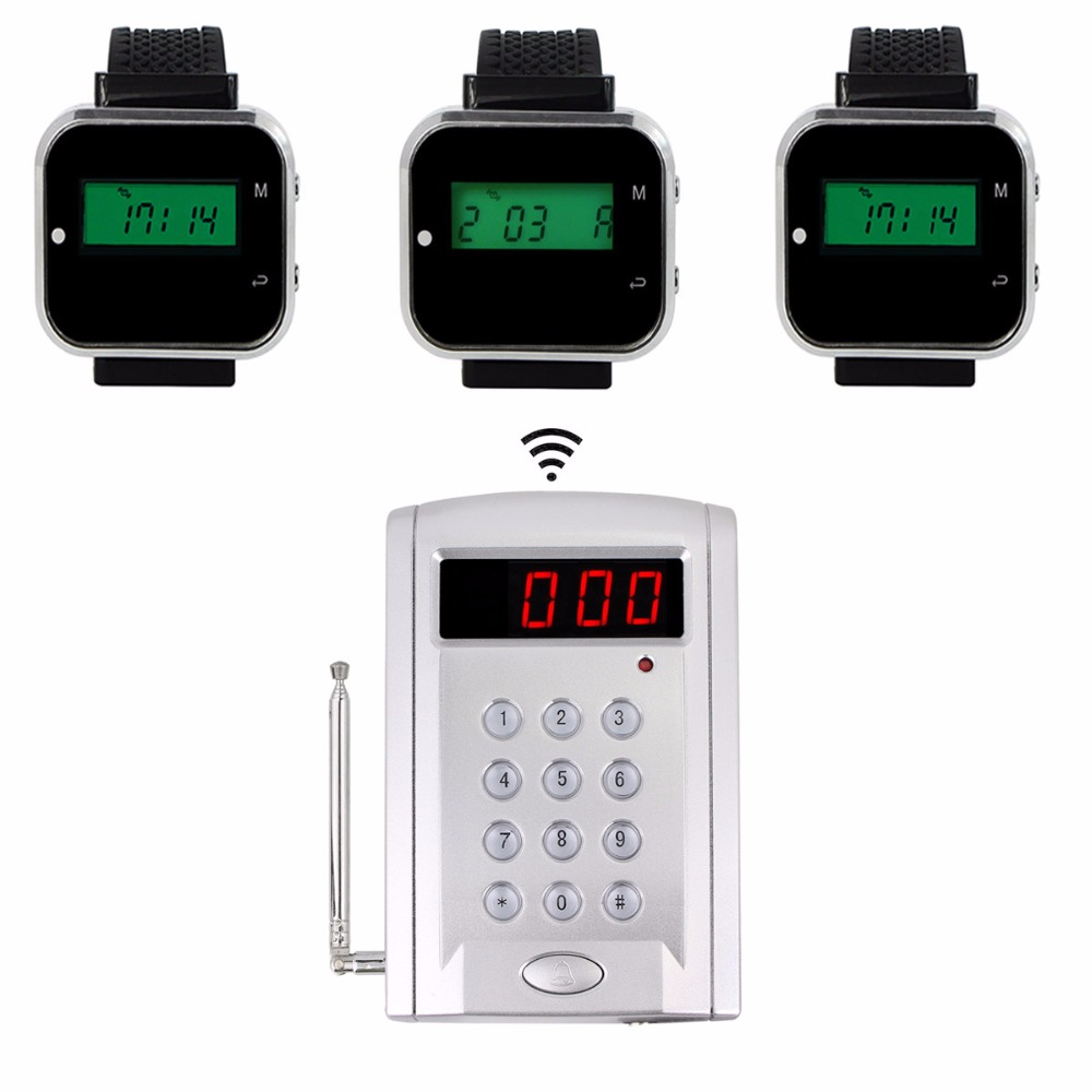 433.92MHz Restaurant Pager Wireless Calling System with 3pcs Watch Receiver Host +1pcs Keyboard Transmitter Pager F3304A restaurant pager wireless calling system 1pcs receiver host 4pcs watch receiver 1pcs signal repeater 42pcs call button f3285c