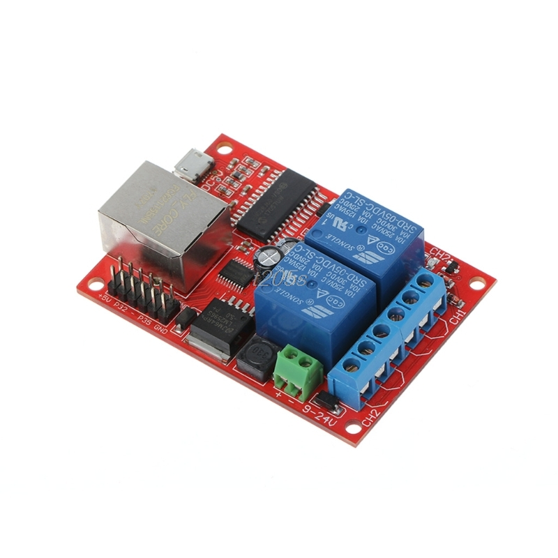 1PC LAN Ethernet 2 Way Relay Board Delay Switch TCP/UDP Controller Module WEB Server T25 Drop ship lan ethernet 2 way relay board delay switch tcp udp controller module web server n27