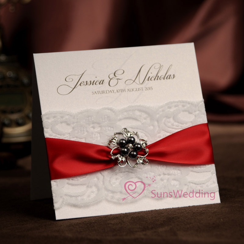 Chinese Red Lace Wedding Invitations Card With Ribbon