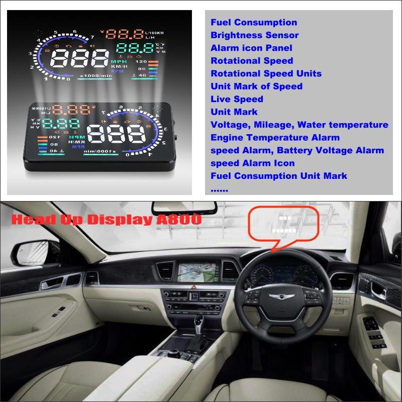 Voiture HUD Conduite Sûre D'affichage Pour Hyundai Genesis 2012 2013 2014 2015 2016 Refkecting Pare-Brise Affichage Tête Haute Écran Projecteur