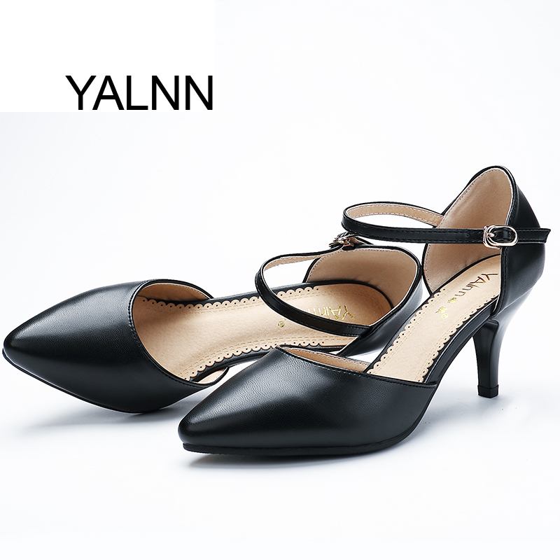 YALNN Women Spring Pumps Buckle Strap High Thin Heels for Women Pointed Toe Career Shoes Size 34-40 Available  цены онлайн