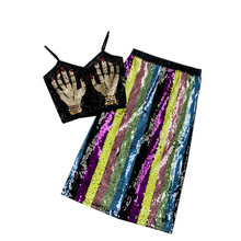 NiceMix 2019 Spring Womens Multicolor Stripe Rainbow All-over Sequins High Waist Skirts +palm of the devil sequin Crop Top 2pc