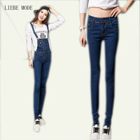 2015 Womens Bib Overalls Body Suit Long Jeans Donna Wear Jeans Jumpsuits And Rompers Teenage Coveralls