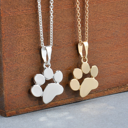 Fashion cute pets dogs footprints paw chain pendant necklace necklaces pendants jewelry for women sweater necklace.jpg 250x250