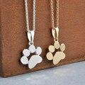 Moda Lindo Mascotas Perros Huellas de La Pata Colgante de Collar de Cadena Collares y Colgantes Joyería para Mujer Jersey collar