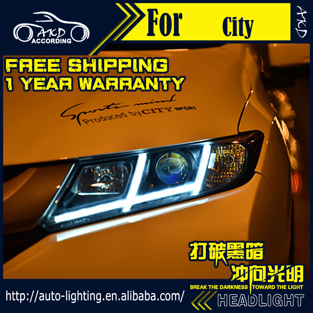 AKD Car Styling Head Lamp for Honda City Headlights 2014 New City LED Headlight DRL H7 D2H Hid Option Angel Eye Bi Xenon Beam автоинструменты new design autocom cdp 2014 2 3in1 led ds150