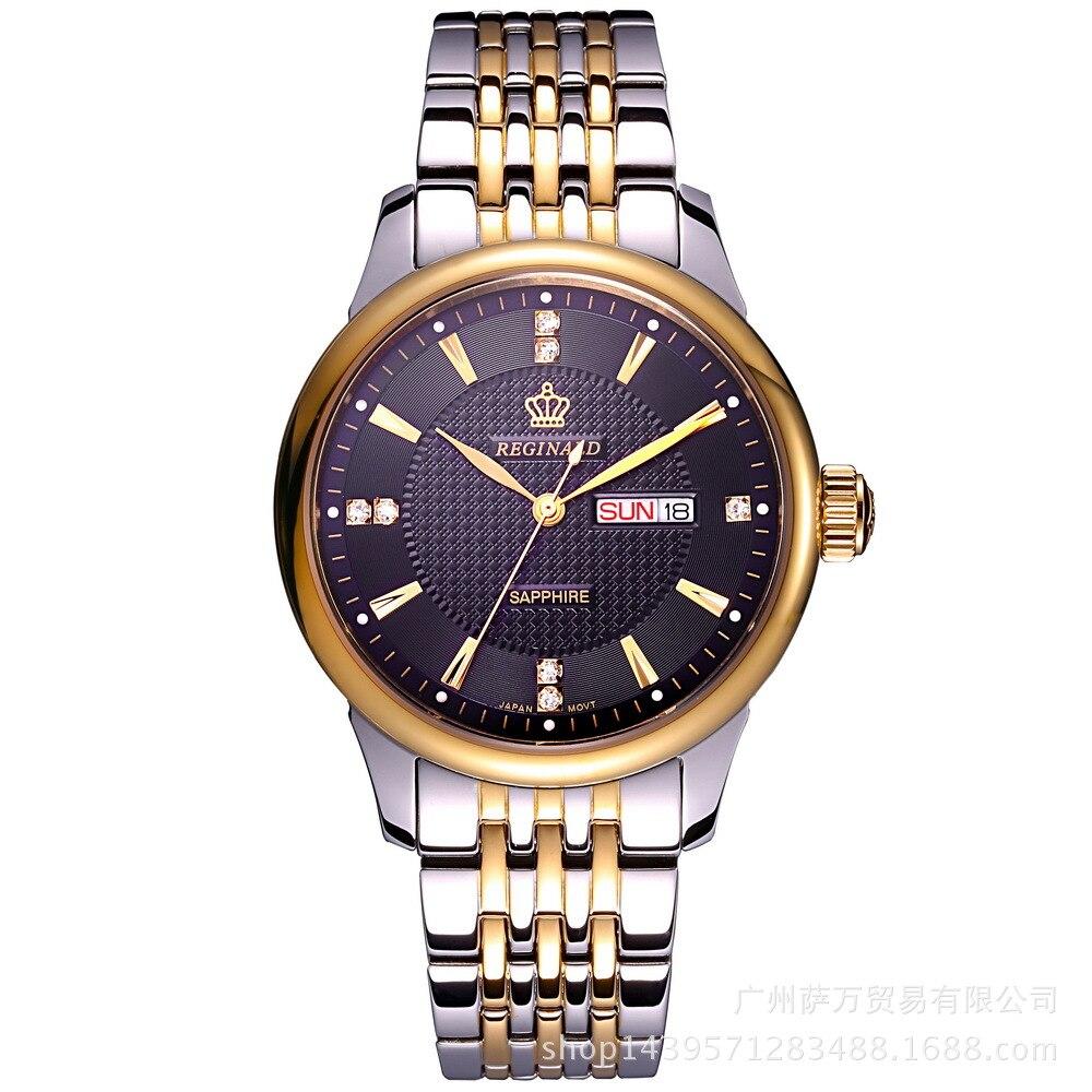 4854752a393 2018 HONG KONG Reginald Marca Mens Relógios De Luxo Quartz Cinta de Aço  Inoxidável À Prova