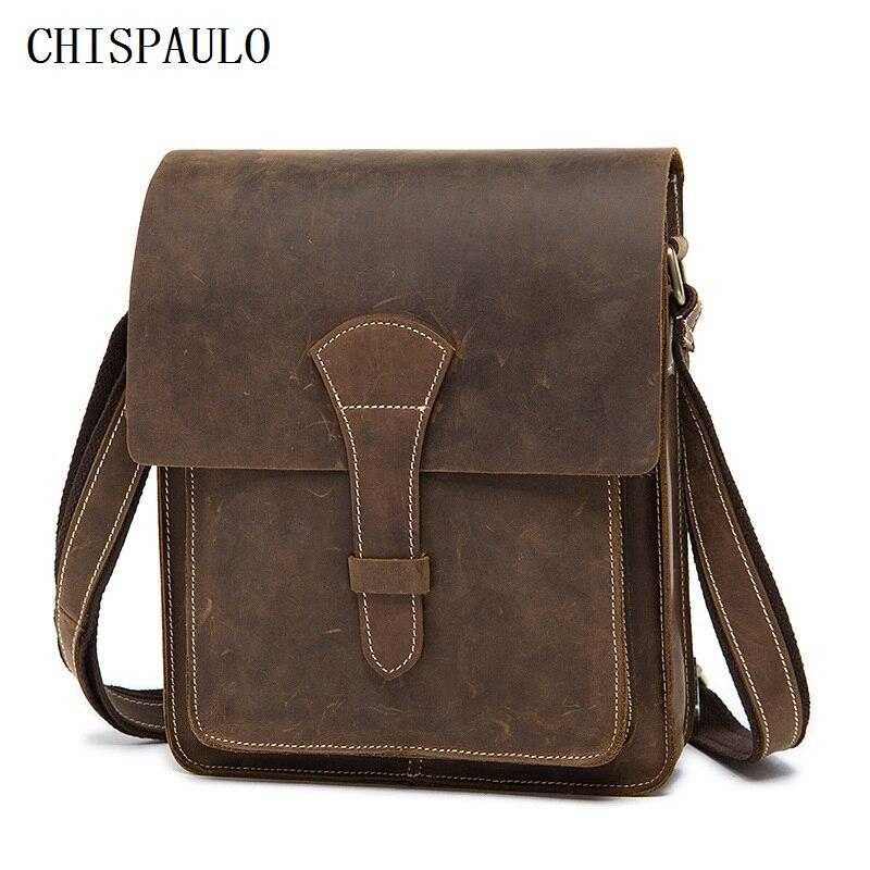 CHISPAULO Crazy Horse Genuine Leather Men Bag Vintage Male Small Men Shoulder Messenger Bags Small Crossbody Bags Messenger T716 обои виниловые флизелиновые zambaiti parati venezia r6406