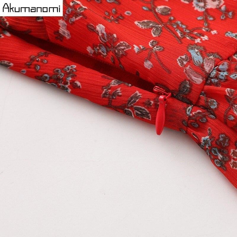 Summer Chiffon Size Women Up Lace Draped Ruffled Red Clothing 5xl 3xl Wrist Plus Print High Lantern Dress Quality Sleeve 4xl rrZdq