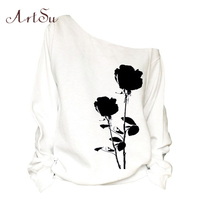 ArtSu Black Flower Printed One Shoulder Sweatshirt For Women Sexy Long Sleeve Casual Loose Autumn Winter