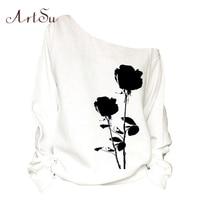 ArtSu Black Flower Printed One Shoulder Sweatshirt For Women Sexy Long Sleeve Casual Loose Autumn Winter