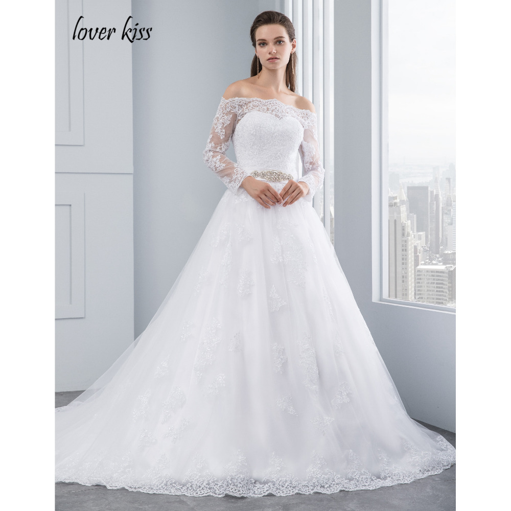 Lover Kiss Wedding Dresses Princess Lace Bridal Bride Gowns with veil robe de mariage Luxury Vintage Long Sleeves off Shoulder 1