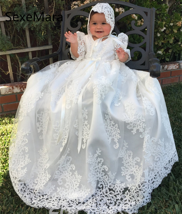 Longue Belle Dentelle Robe De Baptême pour les Filles Baptême 2019 Blanc Ivoire Robe D'anniversaire Baptême Robe avec Bonnet Livraison Gratuite