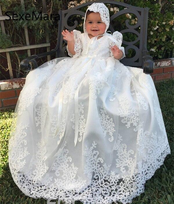 Longue belle dentelle robe de baptême pour les filles baptême 2019 blanc ivoire robe d'anniversaire robe de baptême avec Bonnet livraison gratuite