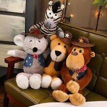 Korean creative Western Cowboy animal zebra mouse orangutan leopard plush toy cute girl doll boy child gift