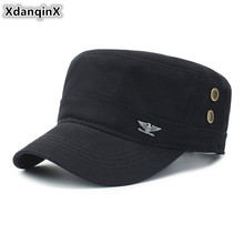 XdanqinX Adjustable Size Adult Mens Flat Caps 100% Cotton Military Hats 2019 Spring Summer Fashion Casual Panama Top Cap