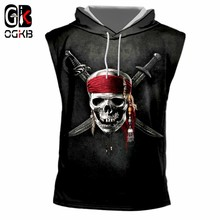 OGKB 2018 Summer Cool Vest With Hat Print Knife Skull 3D Hooded Tank Top Women/men Bodybuilding Fitness Sleeveless Pullovers 7XL(China)