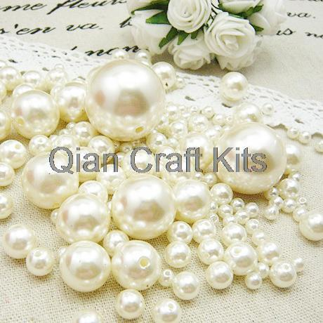 100mixed sizes 4mm-14mm Ivory white Pearls Faux Imitation Plastic Beads Wedding Centerpiece Vase Filler decor Jewelry - Qian Craft Kits store