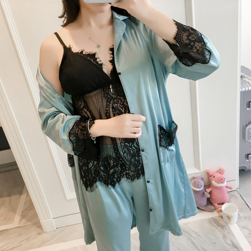 Pajama     Set   2019 Spring Women Sexy Sleepwear Pure Color Black Lace V-Neck Sleeveless Pyjamas Cute Polyester Shorts Coat Trousers