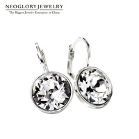 Neoglory Jewelry Made With Swarovski Crystal Clear Round Leverback Drop Earrings For Women Engagement Wedding New