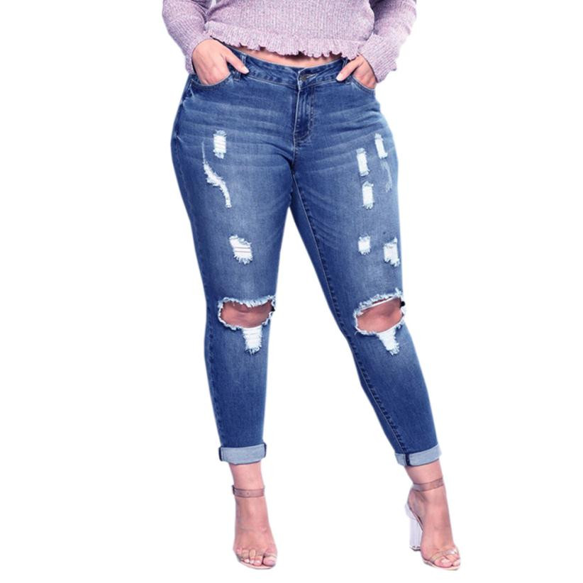 Trendzone 5/25 Women Plus Size Ripped Stretch Slim Denim Skinny Jeans Pants High Waist Trousers Free Shipping