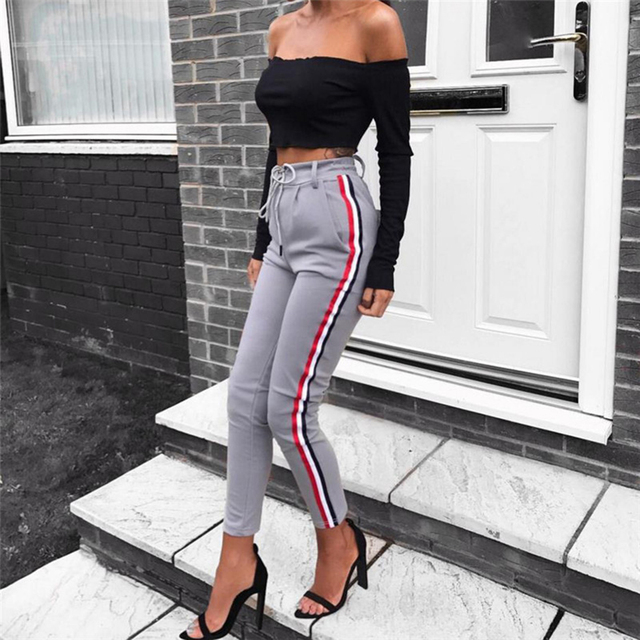1e6cf695acf1a Ladies Side Striped Skinny Pants High Waist Woman Pants Casual Women Autumn  gray red side striped Fly Skinny Trousers