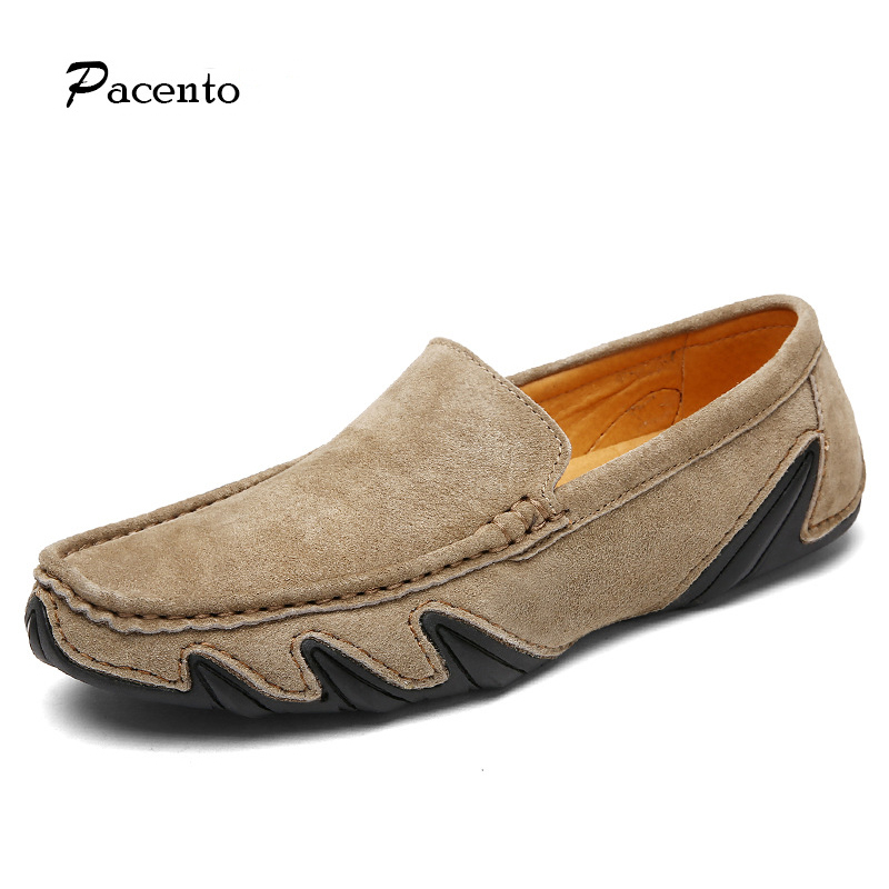 PACENTO Genuine Leather Shoes Mens Flats High Quality Soft Moccasins Men Loafers Casual Driving Shoes Slip on Chaussure Homme dxkzmcm men s casual shoes genuine leather soft loafers for men slip on moccasins boat flats shoes