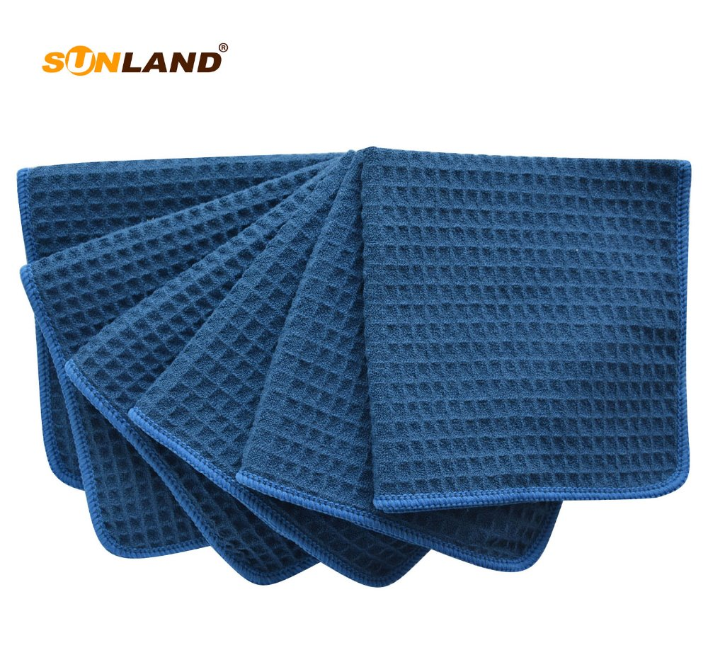 "Sinland 6 PCS 13""x13"" 380g Thick Microfiber Waffle Weave Kitche Dish Drying Towels Washcloths Face Hand Towels Dark Navy Blue"