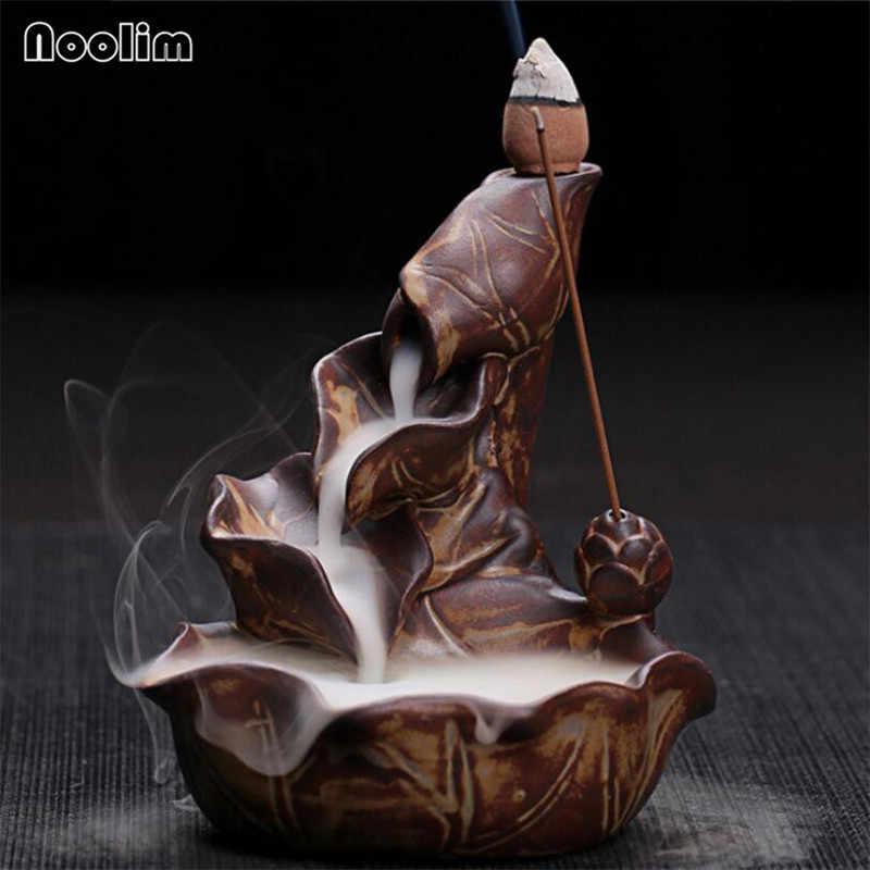 مبخرة بخور اللوتس من السيراميك الإبداعي حامل بخور التنين ديكور منزلي مبخرة عبير بوذي + 20 قطعة