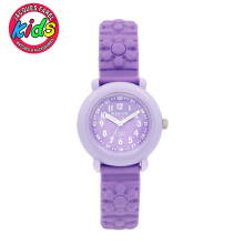 JACQUES FAREL Children watch Kids women fashion cute simple waterproof Quartz Wristwatches Purple flower clock Girl gift