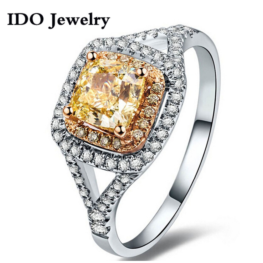 New Arrival Luxurioustwotone Plating Rare Cushion Cut Yellow Cz Cz Ring  Jewelry For Women Halo Engagement