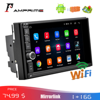 AMPrime 2 Din Car Radio 7 Android Car Multimedia Player Bluetooth GPS Navigation In Dash WIFI Mirror Link USB Audio Player