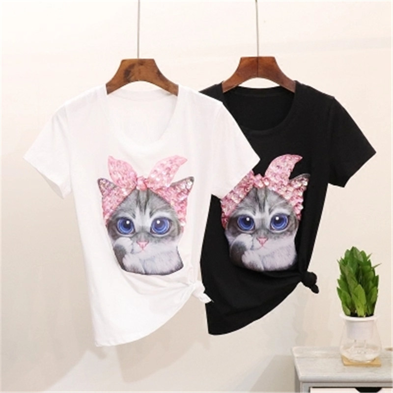 Embroidery Cloth Paste 2019 Spring And Summer New Cartoon Piglet Printing Short Sleeve Digital Stamp Puddle Cat