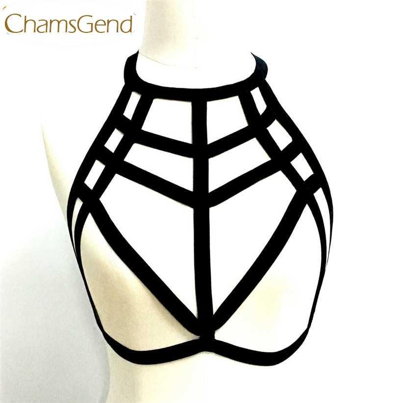 Chamsgend Bras mujer Sexy Lencería araña Web hueco tirantes Halter sujetador Tops 170620