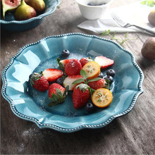 Ice Cracked Ceramic Tableware Underglaze Color Lace Large Dish Dishware Dessert Plate Restaurant Hotel Salad Bowl 1PC