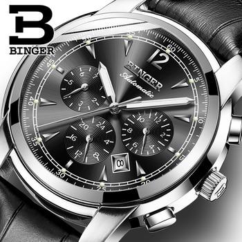 bd4b9db8573 Suíça Binger Relógio Mecânico Automático Dos Homens de Luxo Da Marca  Relógios Masculino relógio de Safira À Prova D  Água reloj hombre B1178-20