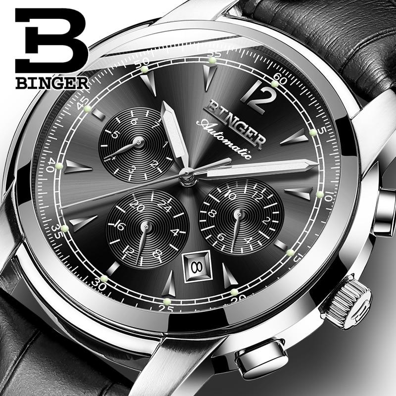 Switzerland Automatic Mechanical Watch Men Binger Luxury Brand  Watches Male Sapphire clock Waterproof reloj hombre B1178  20hombrehombre reloj