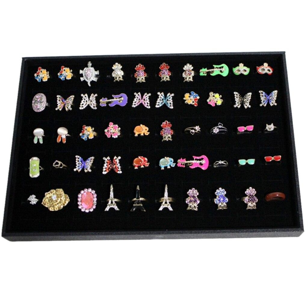 Black Velvet Ring Display Storage Box Organiser Earring Holder Tray For Shop Retail