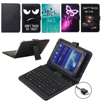 """7 """"8"""" estampado piel funda del soporte abatible con Micro USB teclado para Samsung Galaxy Tab E Lite 7,0 SM-T113 Tab A 8,0 T350 T355 T357"""